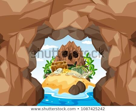 Rejtély barlang sziget illusztráció éjszaka kő Stock fotó © bluering