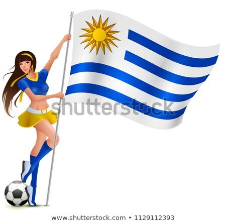 Gyönyörű fiatal női ventillátor tart zászló Stock fotó © orensila
