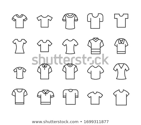 Vector White and black Blank Tshirt Icon Symbol. Vector illustration. stock photo © kyryloff