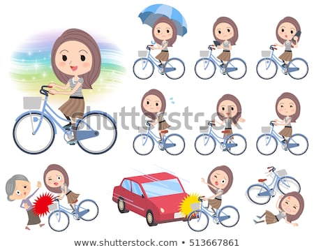 Long hair border T shirt woman ride on city bicycle Stock photo © toyotoyo