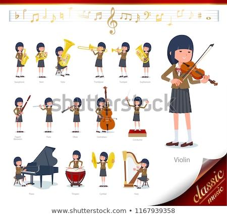 Iskolás lány barna zene szett klasszikus zene játék Stock fotó © toyotoyo