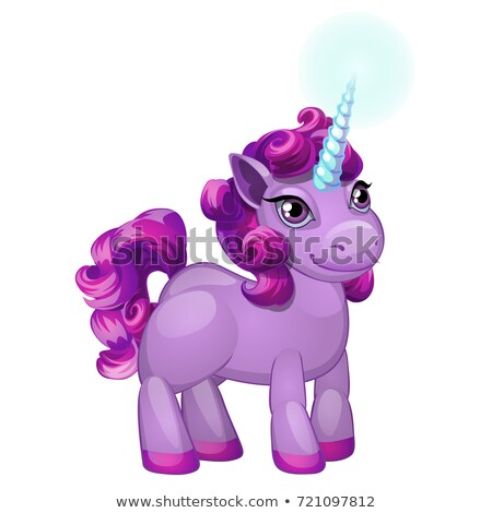 Cute unicorn pony with a purple mane isolated on white background. Vector cartoon close-up illustrat Stock photo © Lady-Luck
