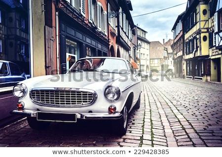 ヴィンテージ ヘッドライト 青 車 光 ストックフォト © manfredxy