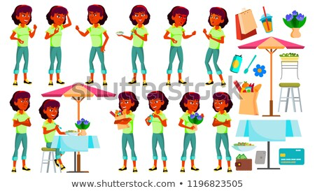Teen Girl Poses Set Vector. Indian, Hindu. Asian. Face. Children. For Web, Brochure, Poster Design.  Stock photo © pikepicture