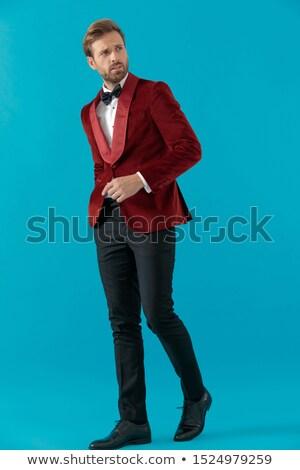 傲慢な エレガントな 男 タキシード 立って 手 ストックフォト © feedough