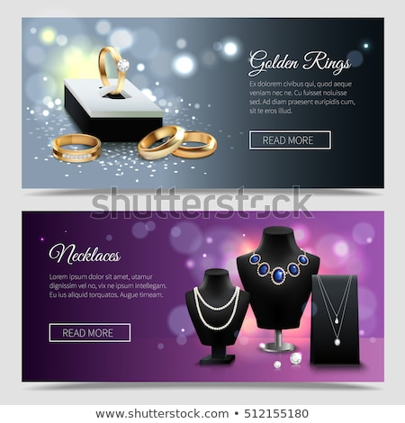 collection of golden engagement rings with pearls stock photo © robuart