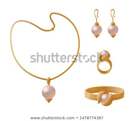 Necklace Huge Pearl Elegant Earrings Stylish Rings Stock photo © robuart