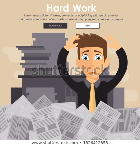 Businessman with pile of paper, business concept. Worried businessman. Deadline concept. Flat vector Stock photo © makyzz