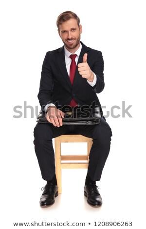 anonim · üzletember · remek · felirat · izolált · fehér - stock fotó © feedough