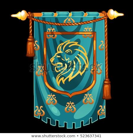 Medievale cavaliere banner immagine testa leone Foto d'archivio © Lady-Luck