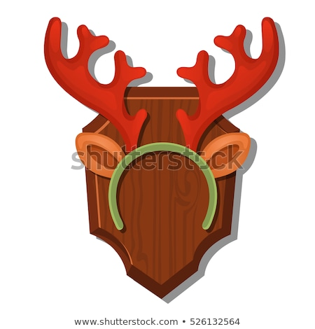 Cartoon Wall Antlers With The Headband Isolated On White Background. Vector cartoon close-up illustr Stock photo © Lady-Luck