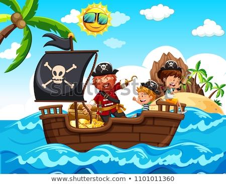 Cartoon Smiling Boat Captain Girl Stock photo © cthoman