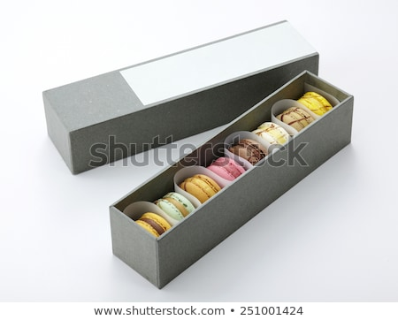 Stock photo: Colorful macaroons in gift box