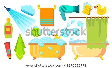 Take A Shower, Bath Icons Vector. Accessories Hairdryer, Shampoo, Towel, Foam. Isolated Flat Cartoon Stock photo © pikepicture