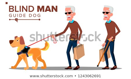 Stock photo: Blind Old Man With Dark Glasses, Cane In Hand And Guide Dog Vector. Isolated Cartoon Illustration