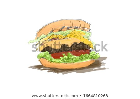 Hamburger with Fresh Salad and Buns Color Banner Stock photo © robuart