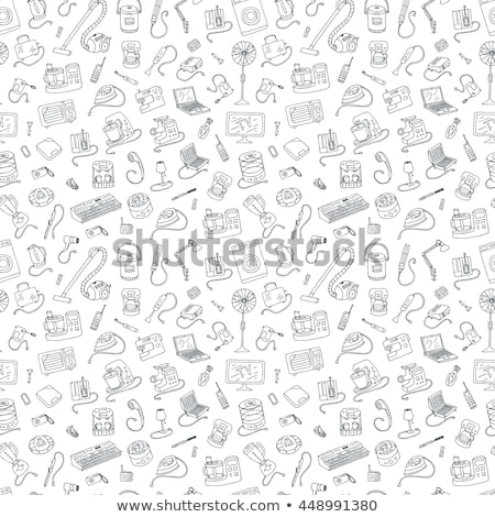 Stok fotoğraf: Set Seamless Patterns From Household Appliances Icons Vector Illustration