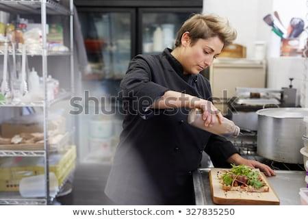 kadın · şef · yemek · genç · lahana - stok fotoğraf © kzenon