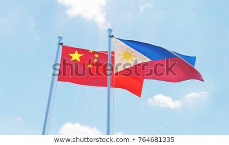 two waving flags of china and philippines stock photo © mikhailmishchenko