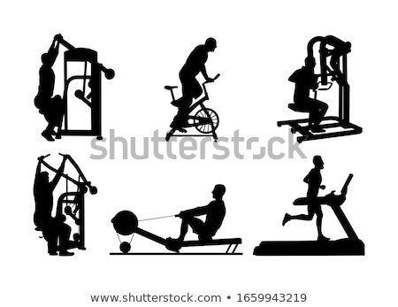 Gym Woman Silhouette Weights Bench Barbell Stock photo © Krisdog