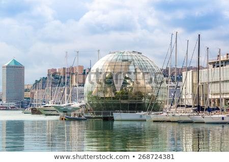 Moderne architectuur Italië detail gebouw Blauw gebouwen Stockfoto © boggy