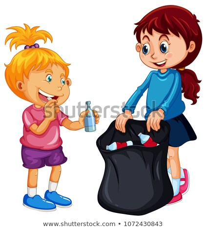 Good Kids Collecting Rubbish on White Background Stock photo © colematt