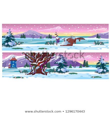Set of posters with beautiful winter landscape and snowfall. Vector cartoon close-up illustration. Stock photo © Lady-Luck