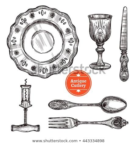 手工繪製 古董 銀 刀具 集 eps 商業照片 © netkov1