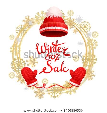 Tél 50 százalék vásár poszter meleg Stock fotó © robuart