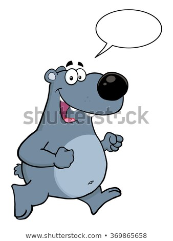 Sonriendo gris tener ejecutando bocadillo Foto stock © hittoon