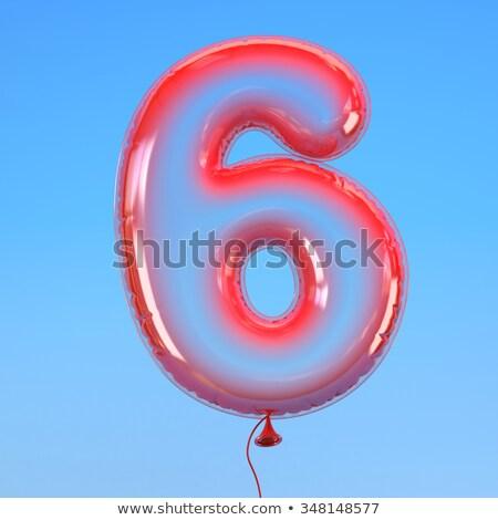 Number six balloon on sky Stock photo © colematt