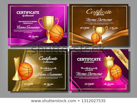 Basketball Game Certificate Diploma With Golden Cup Vector. Sport Graduate Champion. Best Prize. Win Stock photo © pikepicture
