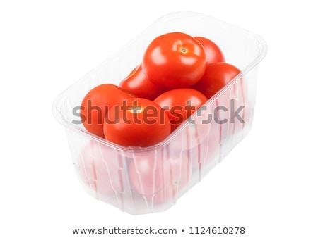 Plastik tepsi taze organik domates Stok fotoğraf © DenisMArt