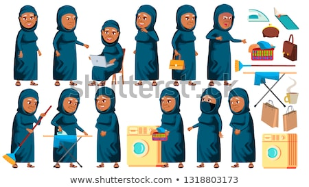 Arab, Muslim Old Woman Poses Set Vector. Elderly People. Senior Person. Aged. Cheerful Grandparent.  Stock photo © pikepicture