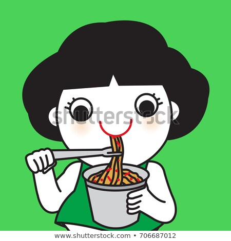 Teen Girl Eat Instant Noodles Illustration Stock photo © lenm