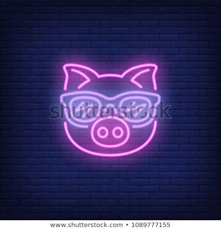 баннер розовый свиней иллюстрация природы Сток-фото © colematt