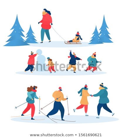 Family Skiing and Skating Together Wintertime Stock photo © robuart