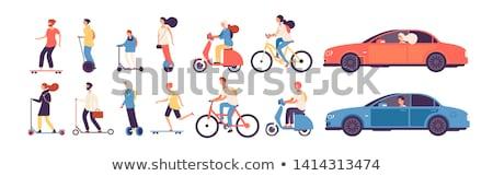 Moped lovaglás férfi modern szállítás nő Stock fotó © robuart