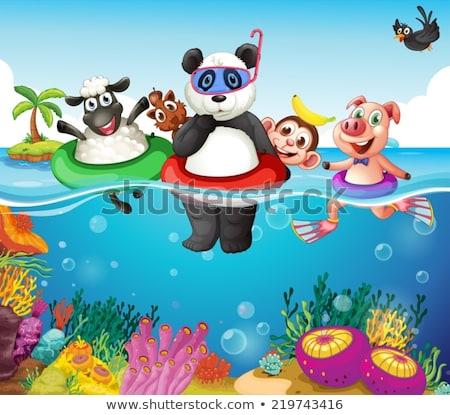 Macaco natação subaquático cena ilustração floresta Foto stock © colematt
