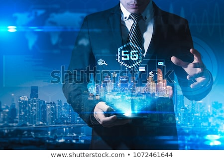 Man touching 3D connectivity and network signs Imagine de stoc © ra2studio