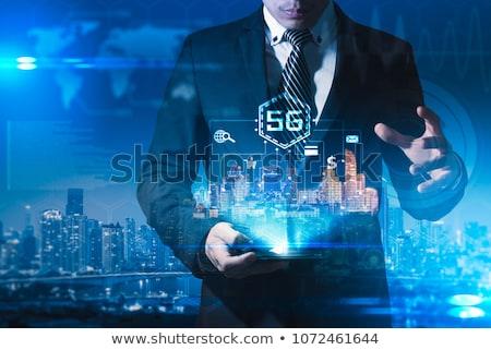 man · aanraken · 3D · connectiviteit · netwerk · borden - stockfoto © ra2studio
