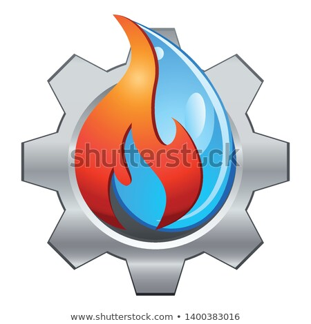 Eau feu plomberie conception de logo industrie Photo stock © djdarkflower