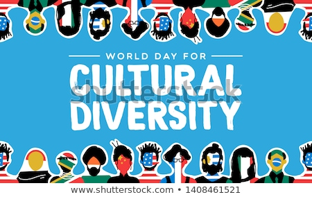 Cultural Diversity day card of diverse friends Stock photo © cienpies