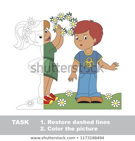 connect halves of kid boys educational game Stock photo © izakowski
