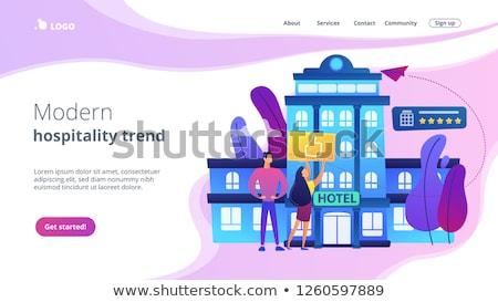 Stile di vita hotel atterraggio pagina uomini d'affari pollice Foto d'archivio © RAStudio