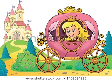Prinzessin Schlitten Bild Mädchen Gesicht glücklich Stock foto © clairev