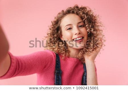 Retrato feliz jovem cabelos cacheados isolado Foto stock © deandrobot