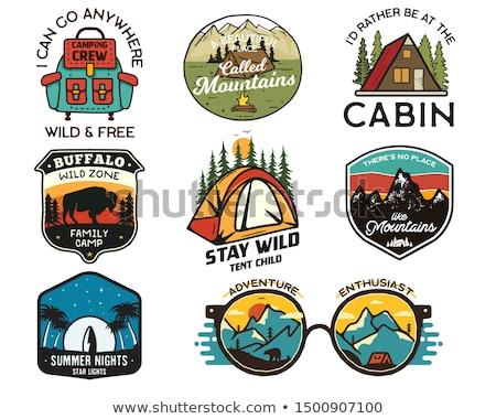Klasszikus utazás logók szett kézzel rajzolt kempingezés Stock fotó © JeksonGraphics