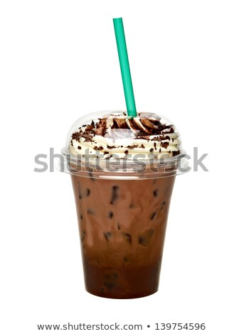 Cocktail in Disposable Cup with Straw and Dessert Stock photo © robuart