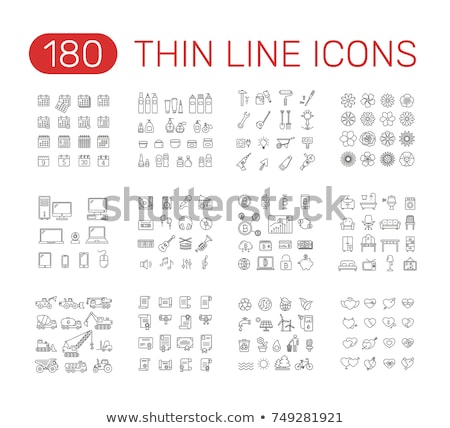 organic cosmetics vector thin line icons set stock photo © pikepicture
